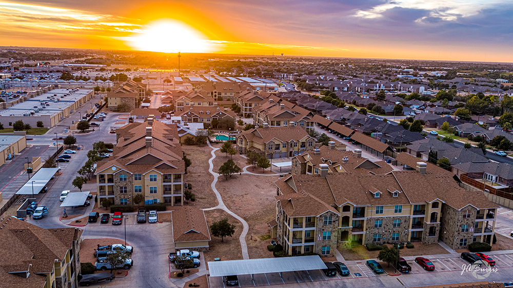aerial view of Blue Ridge Apartments at sunset