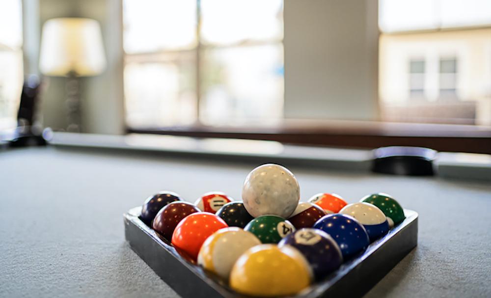 Blue Ridge clubhouse pool balls